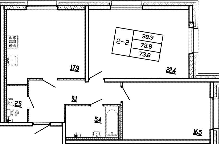 Планировка Двухкомнатная квартира площадью 73.6 кв.м в ЖК «Молодежный»